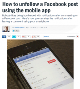 unfollow post on Facebook