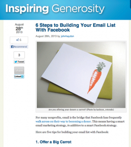 Facebook grow email list